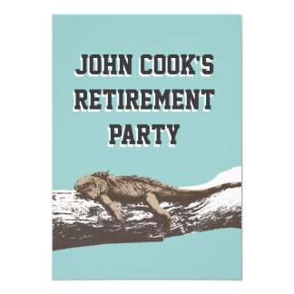 Funny Relaxed Iguana Retirement Party Card