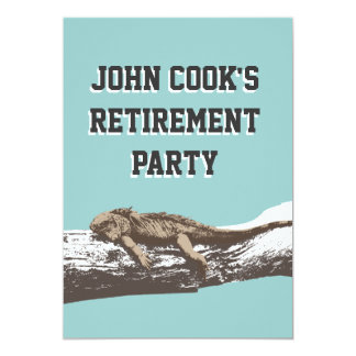 Funny Relaxed Iguana Retirement Party Invitations