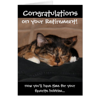 Funny Retirement Card, Napping Calico Cat Card