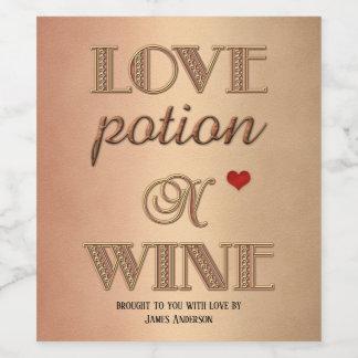 Funny Retro Love Rose Gold Wine Label