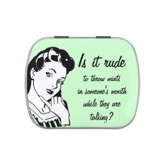 Funny Retro Woman Mints Candy Tins