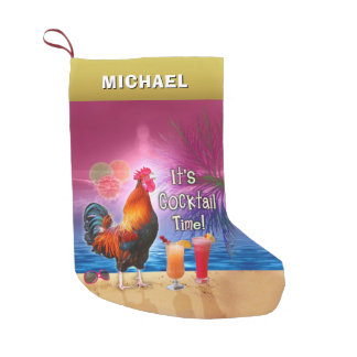 Funny Rooster Chicken Cocktail Tropical Beach Name Small Christmas Stocking