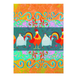 Funny Rooster Hen Funky Chicken Farm Animal Gifts Custom Announcements