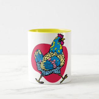 Funny Rooster Two-Tone Coffee Mug