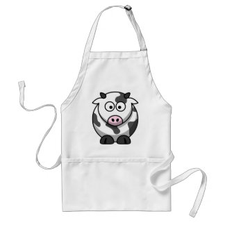 Funny Round Cartoon Cow with Pink Nose Standard Apron