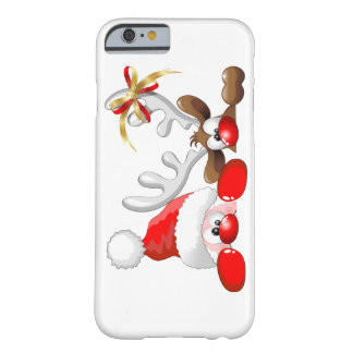 Funny Santa and Reindeer Cartoon iPhone 6 case Barely There iPhone 6 Case