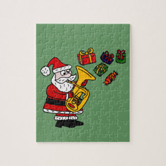 Funny Santa Claus Playing Tuba Christmas Art Jigsaw Puzzle