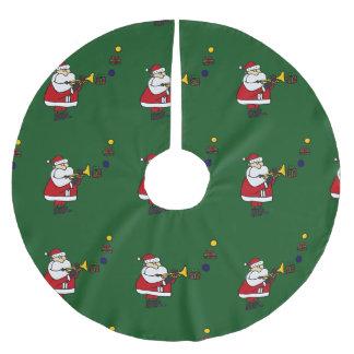 Funny Santa Playing Trumpet Christmas Tree Skirt