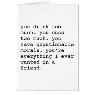 Funny sarcastic best friend appreciation card