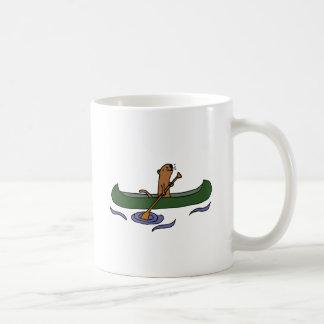 Funny Sea Otter Rowing in Canoe Coffee Mug