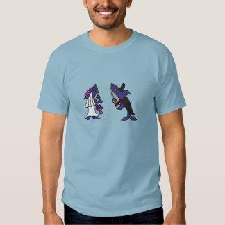 Funny Shark Bride and Groom Wedding Cartoon T-Shirt