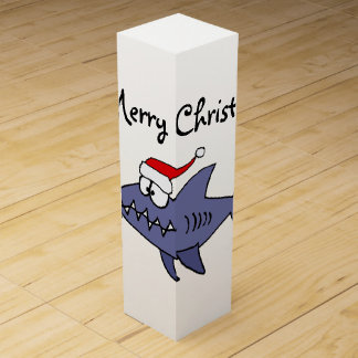 Funny Shark in Santa Hat Christmas Art Wine Gift Box