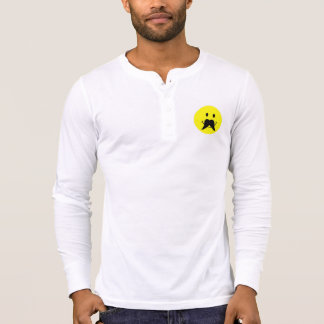 Funny Smiley Face Mustache Henley T Shirt
