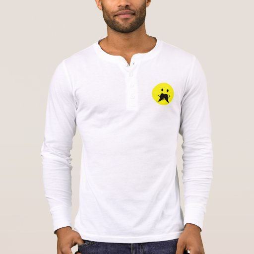 Funny Smiley Face Mustache Henley Shirts