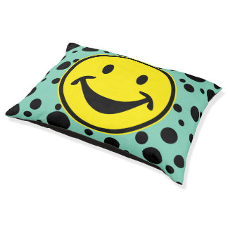 Funny Smiley yellow & Dots + your backg. & ideas Pet Bed