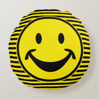 Funny Smiley yellow & stripes + your backg. & idea Round Cushion