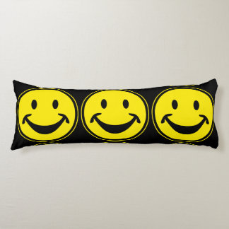 Funny Smiley yellow + your backg. & ideas Body Cushion