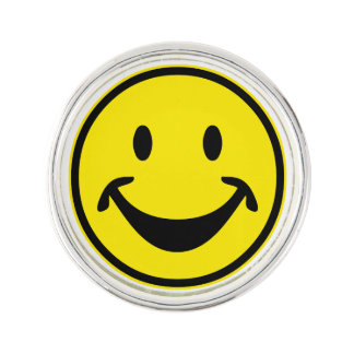 Funny Smiley yellow + your backg. & ideas Lapel Pin