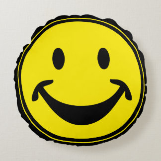 Funny Smiley yellow + your backg. & ideas Round Cushion