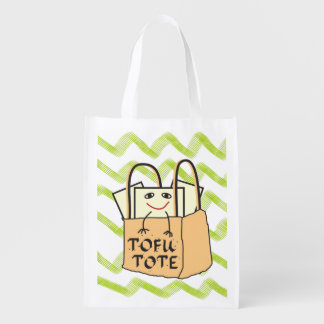 Funny Smiling Tote of TOFU Green Chevron Pattern