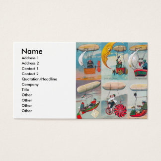 funny steampunk air machines wacky inventions business card