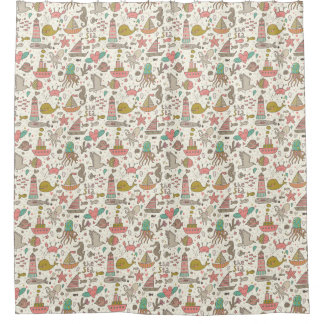 Funny Summer Pattern With Ships Shower Curtain