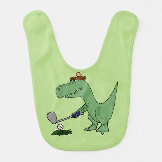 Funny T-Rex Dinosaur Playing Golf Bib