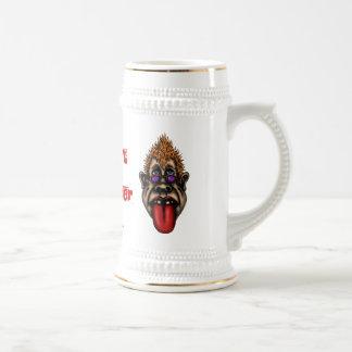Funny teasing face beer mug design
