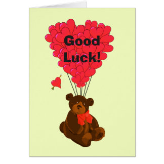 Funny teddy bear and heart good luck note card