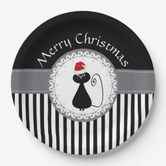 Funny Trendy cute Santa cat Christmas holiday 9 Inch Paper Plate