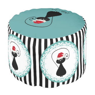 Funny trendy whimsical Christmas cat personalized Pouf