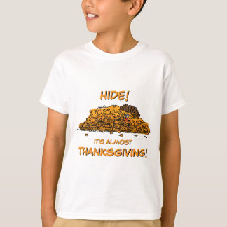 Funny Turkey Hiding in Leaves Thanksgiving T-Shirt