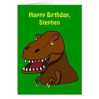 Funny Tyrranosaurus Rex Kids Birthday Custom Name Greeting Card