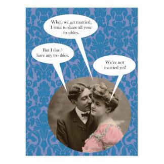 Funny vintage engagement postcard