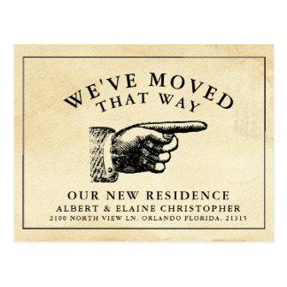 Funny Vintage Hand New Address Postcard