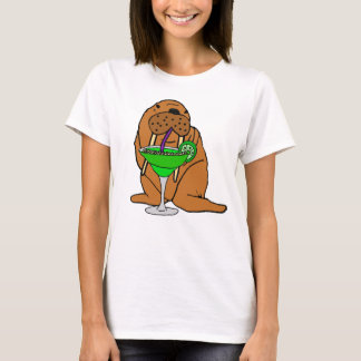 Funny Walrus Drinking Margarita Art T-Shirt