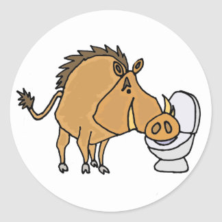 Funny Warthog Drinking from Toilet Bowl Classic Round Sticker