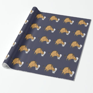 Funny Warthog Drinking from Toilet Bowl Wrapping Paper