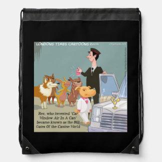 Funny Wealthy Dog Drawstring Backpack