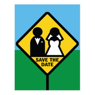 Funny Wedding Icon Sign Save the Date Postcard