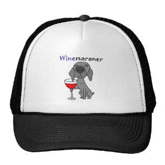 Funny Weimaraner Dog Drinking Red Wine Cap