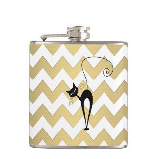 Funny whimsical black cat chevron golden flasks