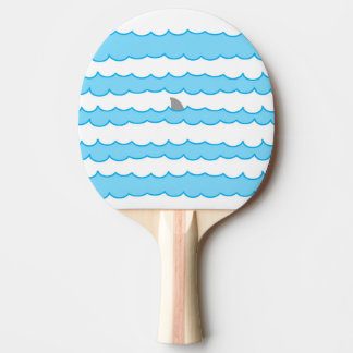 Funny Whimsical Shark Fin on Water Illustration Ping Pong Paddle