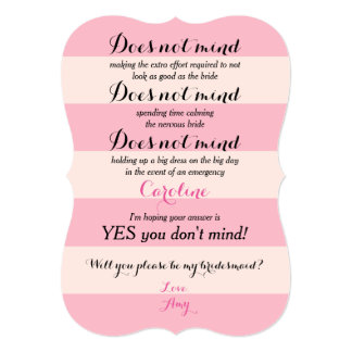 Funny Will You Be My Bridesmaid Rose and Blush 13 Cm X 18 Cm Invitation Card