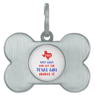 Funny Y'all Texas Girl Tees Pet ID Tag
