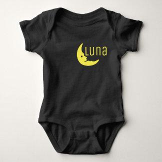 Funny Yellow Black Half Moon Luna Typography Baby Bodysuit