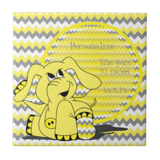 Funny Yellow Chevron Silly Elephant Keepsake Tile