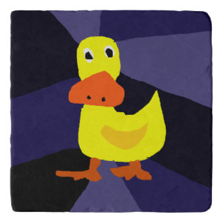Funny Yellow Duck Art Stone Trivet