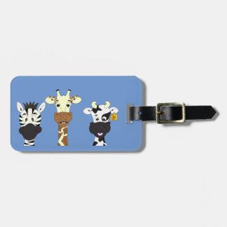 Funny zebra giraffe cow cartoon luggage tag