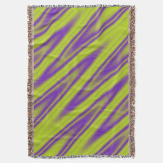 Funny ZigZag Waves green violet + your idea Throw Blanket